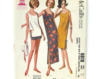 Sleeveless Scooped Neck Muu Muu Dress 1960s Vintage Sewing Pattern /Tunic and Shorts / McCall's 6818 / Size 12 Bust 32