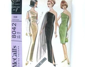1960s Vintage Sewing Pattern - Pauline Trigere / Bare Shoulder Sheath Dress / Evening Gown / McCalls 8042 / Size 12