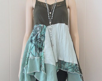 RESERVED for GP Boho Gypsy Women's Tunic Flowing Mixed Greens & Aqua Teal with Lace Linen Cotton Knit Size S - M