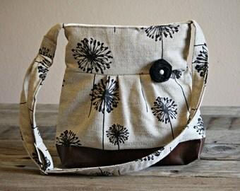 Leather Bag, Dandelion Handbag, Spring Purse, Pleather Bag, Vegan Leather Purse, Pleated Purse