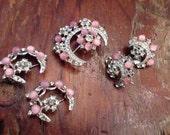 1960's Claudette PINK Art Glass And Rhinestone Brooch & Earring SET + Two Bonus Pins