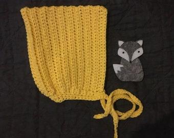 Texture stripe crochet pixie bonnet size 0-3m