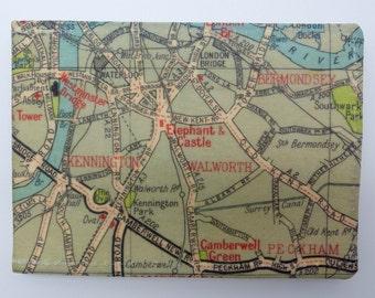 Oyster card holder, bus pass holder, travel card holder,wallet. London map print wallet .Elephant and Castle map wallet, credit card holder