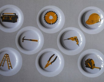 Tool Time Flair Buttons-YOU CHOOSE STYLE