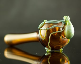 Octopus Large Glass Spoon Pipe Hand Blown Thick Wall in Amber & Mystery Adventurine, Ready to Ship #390