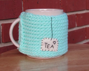 Knitted tea mug cozy knit cup cozy in cool blue mint