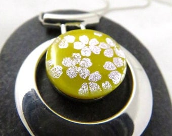 Sunny Yellow Blossoms Necklace - Fused Glass and Silver - Asian Inspired Necklace