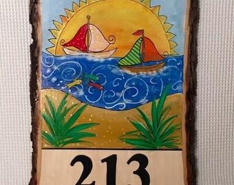 Custom Address Sign, Address Plaque, Custom Painted Sign, House Number Sign