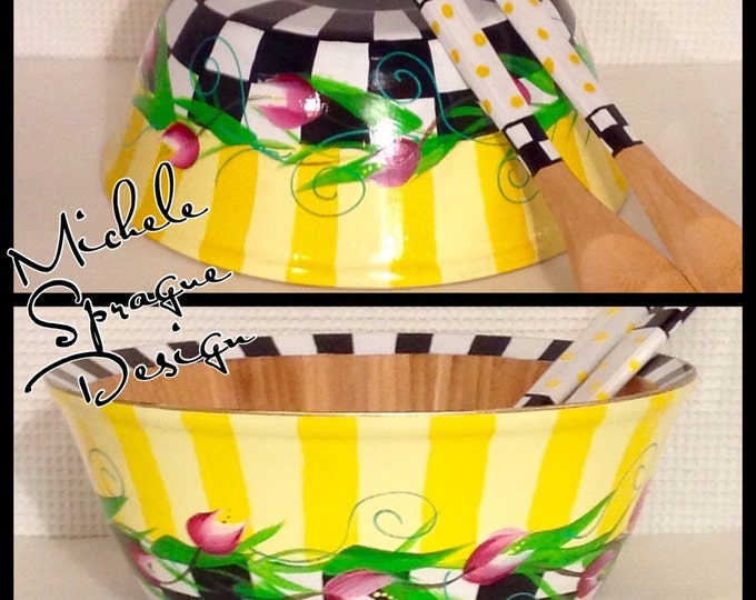 Painted Bowl // Painted Salad Bowl Set // Whimsical Painted Wood Bowl Set