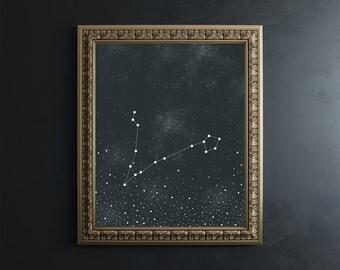 Pisces Zodiac Constellation Fine Art Print // 8x10 print // astronomy // stars // home goods // zodiac signs // home decor
