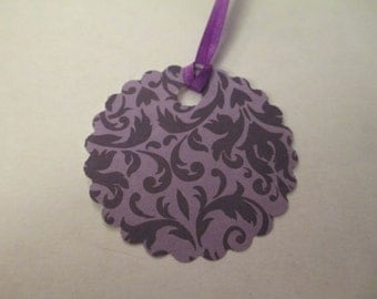 8 Handmade Round Purple Gift Hang Tags