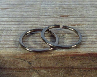 Hoop Earrings Gunmetal Hammered Endless- Hammered Hoop Earrings, Gunmetal Hoop Earrings, Piercing Hoops, Helix Hoops, Tragus Hoop, Cartilage