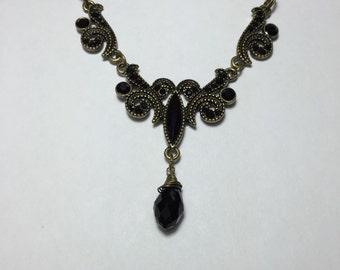 Vintage Black and Brass Necklace