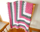 Baby Girl Crocheted Blanket in Pink, Gray, and White