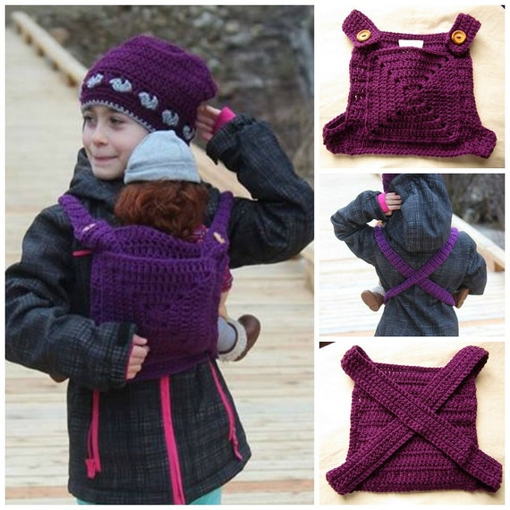 Crochet Pattern For Doll Sling : Items similar to Crocheted Baby Doll Carrier, Girls ...