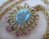 Saint Child Blue Pink Necklace Cameo Gold Gray Rhinestone Vintage Pendant Catholic Christian