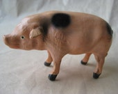 Pig Figurine Vintage Composition Stick Leg Putz Germany Miniature Pink Black