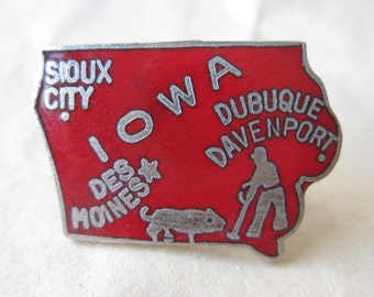 Iowa Lapel Pin Red Silver Tie Tack Vintage Brooch Enamel State