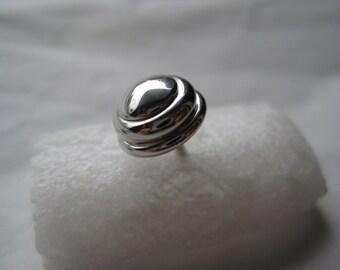 Round Silver Tie Tack Vintage