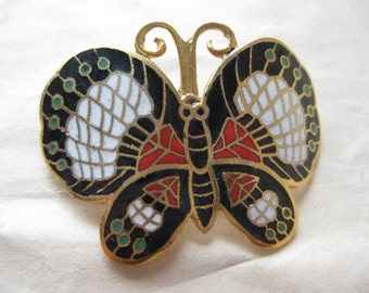 Butterfly Black Red White Brooch Gold Enamel Vintage Pin Cloisonné Pendant