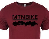 Mountain Bike mountain silhouette  rider outline Tshirt