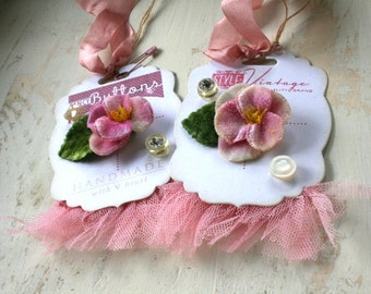 shabby floral tags-button card gift tags set of two