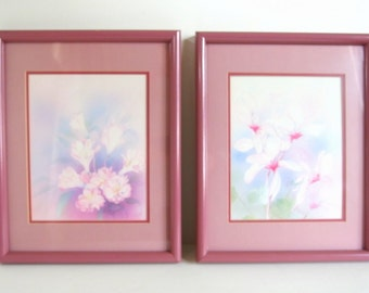 2 Vintage Framed Print - Pink Watercolor Prints in Dark Pink Picture Frames