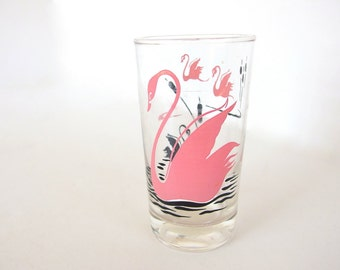Vintage Pink Swan Drinking Glass