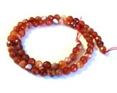 "Carnelian 6mm Faceted Round Gemstone Beads, Fiery Orange Semi Precious Beads, 16"" Strand, Jewelry Supplies"
