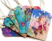 12 Gift Tags, Colorful & Bright Flowers Butterflies, Hang Tags, Multi Color, 6 Designs,  Tags, Party Favor Tags