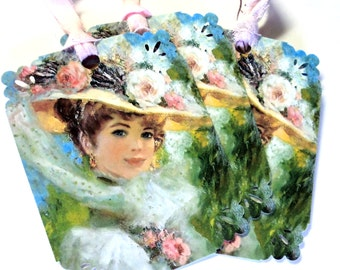 7 Edwardian Lady Gift Tags, Floral Pastels, Note Tags, Hang Tags, Merchandise, Party Favor