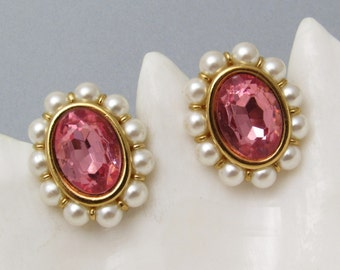 Pink Rhinestone Earrings Pearls Vintage Napier Jewelry E7302