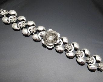 Rhinestone Flower Bracelet Bugbee Niles Thirties Vintage Jewelry B7443