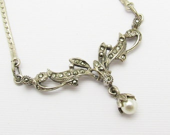 Silver Marcasite Necklace Pearl Drop Vintage Jewelry N7167