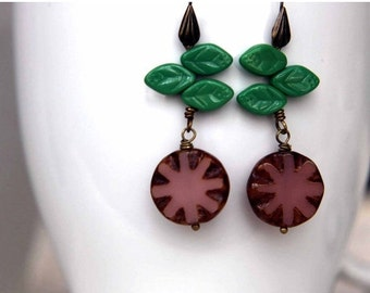 Spring Floral Flower Earrings  Czech Glass in Picasso Pink and Green Leaf Beads  Antiqued Brass Dangles  Mother's Day,  Spring Fashion