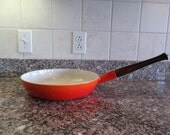 Beautiful flame red Descoware (Belgium) iron pan with glaze and wood handle- weighty, solid, fully functional, beautiful