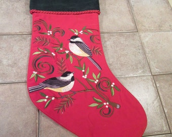 Very nice crewel needlework holiday Christmas stocking in very fine condition- vivid colors, gently used, nice holiday decor
