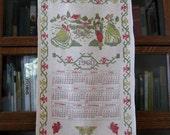 1960 Calendar Towel,  Cross Stitch Victorian Farm Scene, Vintage Kitchen Towel, Retro Kitchen, 1960 Calendar, Victorian Calendar Towel,