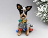 Blue Heeler Dog Christmas Ornament Figurine Lights Porcelain