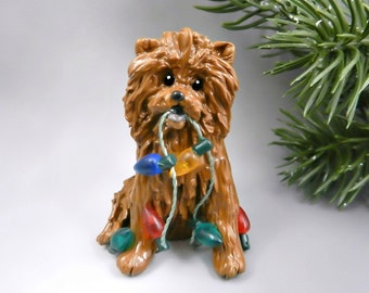 Chow Chow Red Christmas Ornament Figurine Lights Porcelain