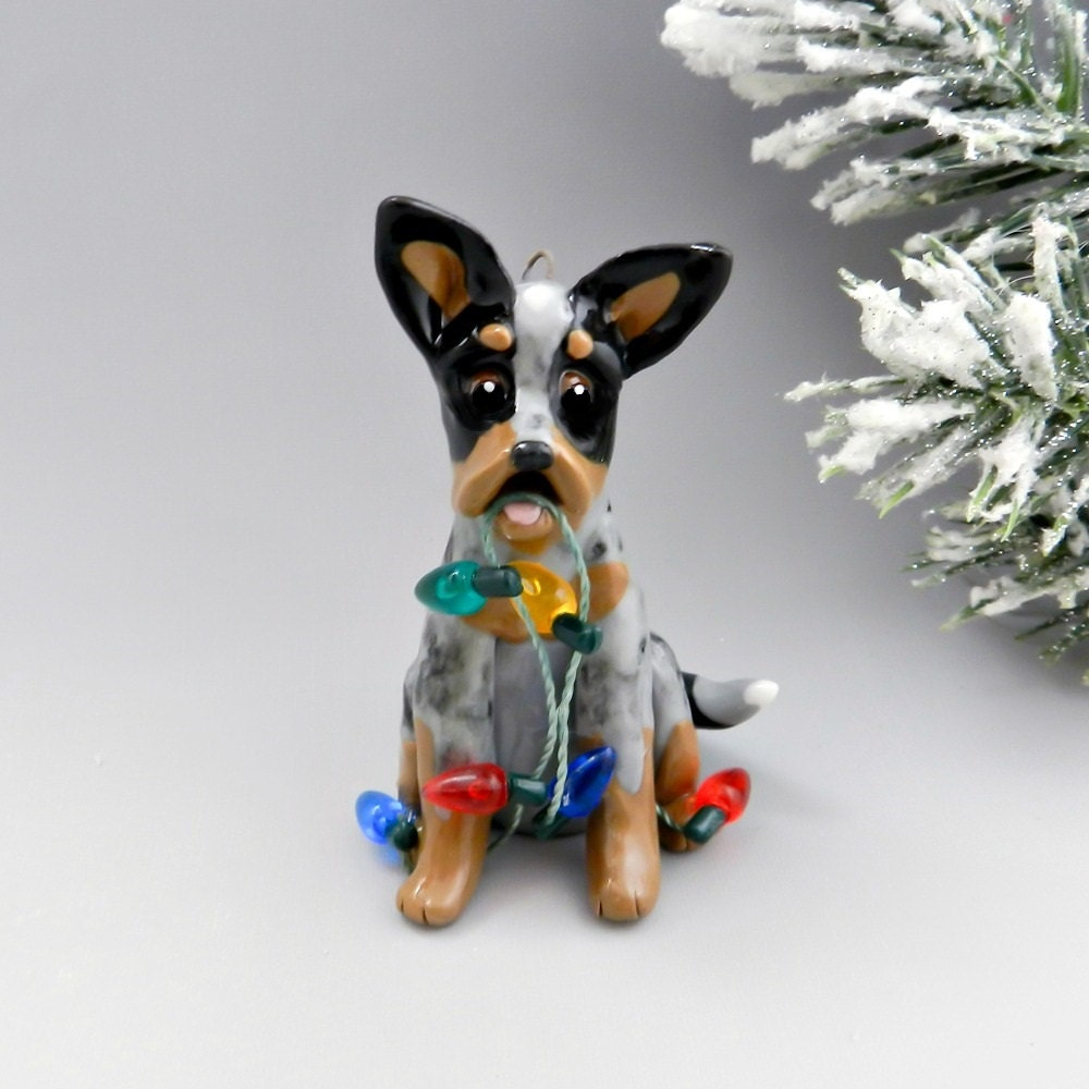 Shepherd Gold On Blue Silhouette Ornament: Blue Heeler Dog Christmas Ornament Figurine By TheMagicSleigh