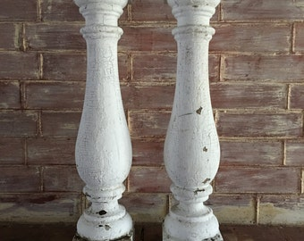 TW0(2) RECLAIMED Extra Large Wood Balusters SHABBY Candle Stands Crusty White Vintage Chic 2588-15