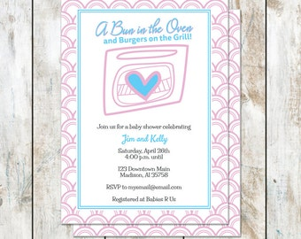 Bun in the Oven Baby Shower Invitation - Grill Out Shower Invitation - Outdoor Baby Shower Invitation - Couples Baby Shower Invitation