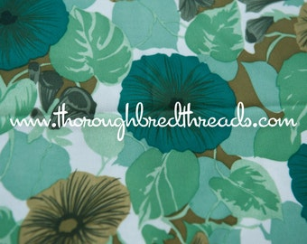 Polyester Petunias - New Old Stock  Vintage Fabric 60s 70s Fun Flowers Greens