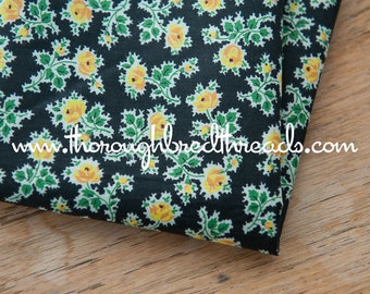 Little Yellow Roses on Black - Vintage Fabric 50s 60s 36 in wide New Old Stock Cottage Floral