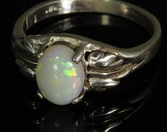 Natural Opal .85 ct Handset in .925 Sterling Ring  -  Fast Free Shipping