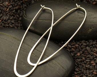 Sterling Silver Long Oval Hoop Earrings - Solid 925 - Insurance Included