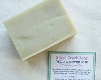 Vegan Herbal Shampoo Soap, Rosemary with Clay