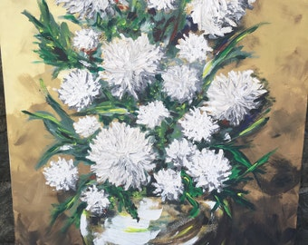 Vintage Floral Painting - Mid Century Modern Painting - Chrysanthemums - Still Life Painting - Shabby Chic Painting - Mid Century Art
