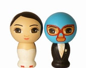 Custom Wedding Cake Toppers Hand Painted on Wooden Kokeshi Dolls with Luchador Mask and Bride